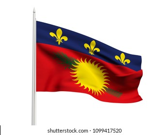 Guadeloupe flag floating in the wind with a White sky background. 3D illustration.