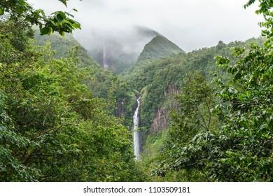 Guadeloupe island waterfall