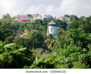 Guadeloupe/France - 02/08/2019 : Old cane mill in Guadeloupe in French West Indies