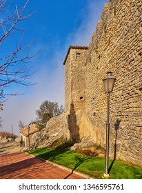 Guaita fortress is oldest of three towers constructed on Monte Titano in city of San Marino. It was built as prison. It is one of three towers depicted on both national flag and coat of arms.