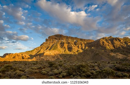 Guajara mountain panoramic sunset view. Teide national park, popular hike route. Canary islands, Spain.