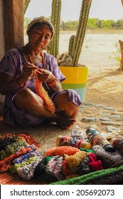 GUAJIRA, COLOMBIA - FEBRUARY 27, 2012: Unidentified traditional  native Indian knitting handcraft at Guajira, Colombia.
