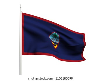 Guam flag floating in the wind with a White sky background. 3D illustration.