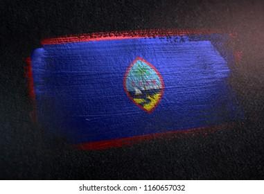 Guam Flag Made of Metallic Brush Paint on Grunge Dark Wall