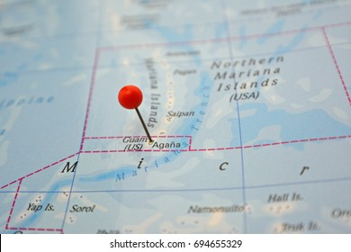 Guam marked on map with red pin