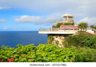 Guam, U.S. - 23rd Dec 2017: Two lovers point look out view point, the site of Guam's most famous legend but also one of the best places to really see the beauty of Guam.