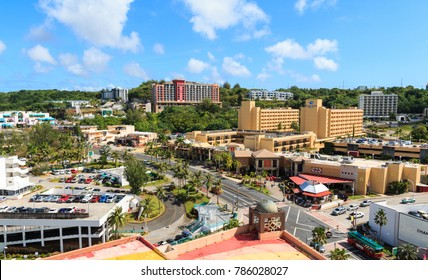 GUAM, USA - Dec 21, 2017: Aerial view of nothern part of Tumon Bay aerea. With many hotels and shopping centers, it is the most popular area for tourist in Guam.