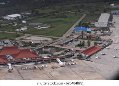 GUAM, USA—Aerial view of the Antonio B. Won Pat or Guam International Airport taken in December 2016.