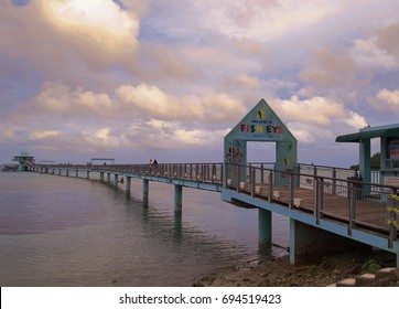 GUAM, USA—Long wooden bridge to the Fish Eye Marine Park, an underwater observatory which is one of the top attractions on Guam in a photo taken in December 2016.