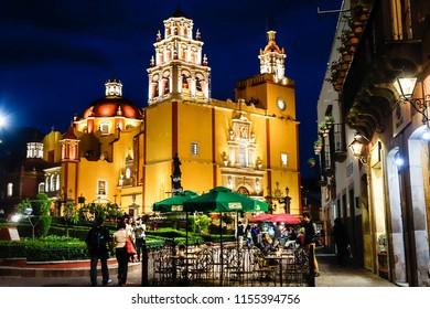 Guanajuato cathedral at night. Mexico ,June 2015.