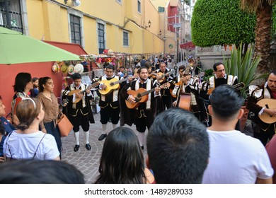 Guanajuato City. August 2019 - Traditional Estudiantina, folkloric singers who play songs about the city for tourists wearing tuna suits of Spanish Golden Era.