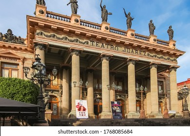 Guanajuato City, Mexico - 26th April 2016: The Juárez Theater is a historic theater built from 1872 to 1903., inaugurated on October 27, 1903 by President Porfirio Díaz