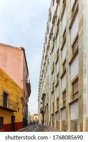 Guanajuato City, Mexico - 26th April 2016: A narrow uphill street - Calle Pedro Lascurain de Retana, next to the University of Guanajuato