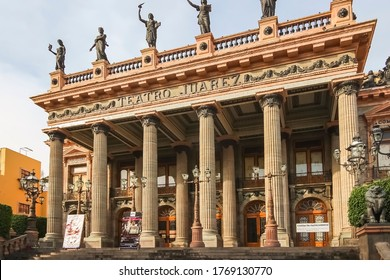 Guanajuato City, Mexico - 26th April 2016: The Juárez Theater is a historic theater built from 1872 to 1903, inaugurated on October 27, 1903 by President Porfirio Díaz