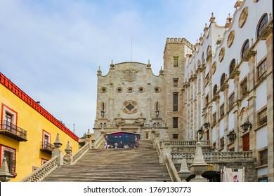 Guanajuato City, Mexico - 26th April 2016: Main entrance staircase of the University of Guanajuato