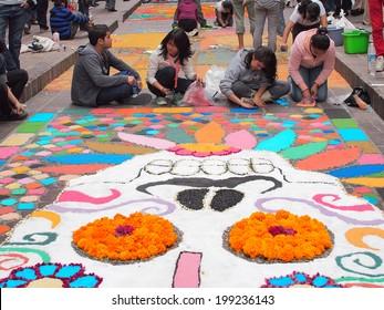 GUANAJUATO, MEXICO - NOVEMBER 2, 2013: Festival Muerte en Cartelera or Death in billboard festival. 19th cultural event celebrates in every November 2. Public art as a ritual and tribute to life.