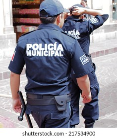 GUANAJUATO, MEXICO - NOVEMBER 2, 2013: Municipal police officers are patrolling in the city of Guanajuato which is listed as World Heritage Site by UNESCO.