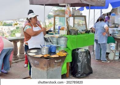 GUANAJUATO, MEXICO - NOVEMBER 9, 2013: Street restaurant or food booth in the UNESCO World Heritage city of Guanajuato.
