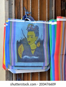 GUANAJUATO, MEXICO - NOVEMBER 9, 2013: Shopping bags sold in the storefront of grocery shop in the Historic mine city of Guanajuato.