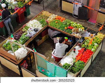 GUANAJUATO, MEXICO - OCTOBER 26, 2013: Market in the city of Guanajuato, the World Heritage Site (1988).  The city has about 170,000 population.