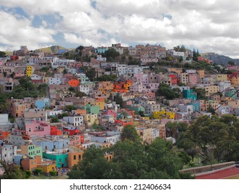 GUANAJUATO, MEXICO - OCTOBER 26, 2013: Colorful Houses of Guanajuato in central Mexico, historic mine city is registered as World Heritage Site by UNESCO.