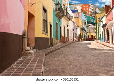 GUANAJUATO, MEXICO - September 24, 2015: Public street view of Guanajuato City, the UNESCO World Heritage Site. 16th century old buildings & streets are preserved.