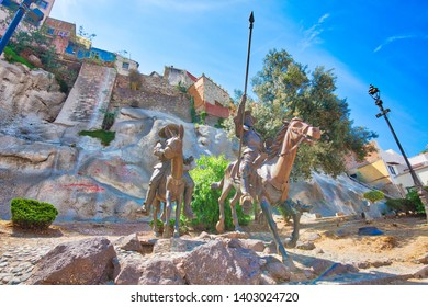 Guanajuato, Mexico-April 11, 2019: Cervantes monument near the entrance of the old Guanajuato historic city dedicated to Don Quixote, Sancho Panza and other famous characters