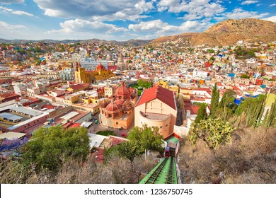 Guanajuato, scenic city lookout and panoramic views from city funicular