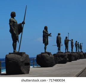 The Guanche kings, the last kings of Tenerife in bronze statuary and oversized