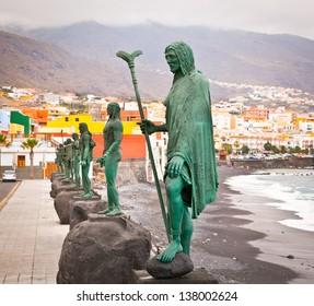 Guanches indians statues located at Plaza de la Patrona de Canarias at Candelaria, Tenerife, Canarian Island, Spain.