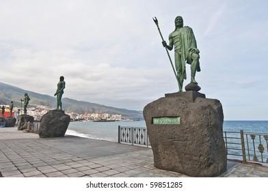 Guanches indians statues located at Plaza de la Patrona de Canarias at Candelaria, Tenerife Island