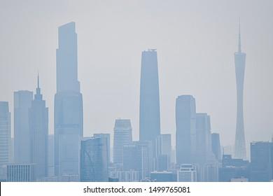 Guangzhou: April 2019: Beautiful view of the buildings from Baiyun mountain. (China)