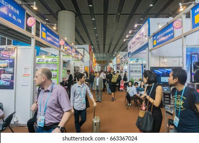 GUANGZHOU, CHINA - 16 April 2017 : The view at China Import and Export Fair(Canton Fair Complex) in Guangzhou China. Many buyers are source vendor in the largest trade fair in Guangzhou.