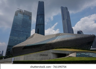 Guangzhou, China - 23.05.2016: The Guangzhou Opera House with skyscrapers in the background