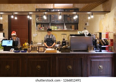 Guangzhou, China - 24th December 2018 : Interior design of a cafe called My Second Coffee located in a tourist attraction of Shamian Island, Liwan District.