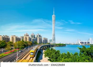 Guangzhou, China, April 2018: beautiful architectural landscape of Guangzhou Zhujiang New Town.