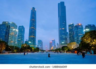 GUANGZHOU, CHINA - APRIL 27, 2018: Guangzhou cityscape skyline Flower City Square illuminated in the evening. Guangzhou, China. Guangzhou, China