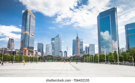 GUANGZHOU, CHINA - AUGUST 6, 2017: View on the Parc Central from the Guangzhou Tianhe Sport Center Stadium.