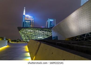 Guangzhou, China - Dec 19 2019: Guangzhou Opera House is a Chinese opera house in Guangzhou, Guangdong province, People's Republic of China.