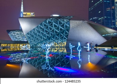 GUANGZHOU, CHINA - DEC.30: Guangzhou Opera House night landscape on Dec. 30, 2012 in Guangzhou, China. Designed by architect Zaha Hadid and has become one of the seven new landmarks in Guangzhou
