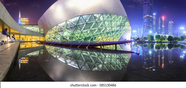 GUANGZHOU, CHINA - DECEMBER 10, 2016 : Guangzhou Opera House and reflection on the water at night landscape on Dec. 10, 2016