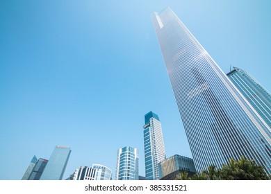 GUANGZHOU, CHINA - FEB 20.:CBD modern skyscrapers in Guangzhou on Feb 20, 2016. Guangzhou is one of the major economic cities in China