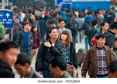GUANGZHOU, CHINA - JANUARY 8:  Thousands Chinese people leaving city return home for Chinese New Year on Jan 8, 2012,Guangzhou Railway serves 250000 passengers per day.