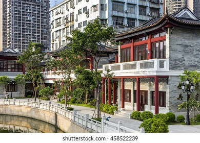 Guangzhou, China - July 2016. Old and new architecture at Liwan Park