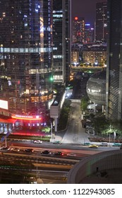 Guangzhou, China - June 05, 2018; The amazing nightly Neon light display in Guangzhou New Town, China.