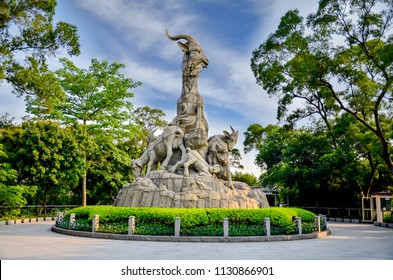 GUANGZHOU, CHINA - June 14, 2014 : Five rams statue is the symbol of Guangzhou (Canton) City GuangDong China, The statue is over 10 meters tall