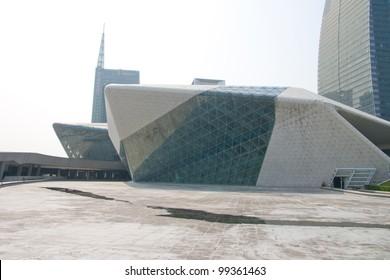 GUANGZHOU, CHINA - MAR.24: Guangzhou Opera House night landscape on Mar. 24, 2012 in Guangzhou, China. Designed by architect Zaha Hadid and has become one of the seven new landmarks in Guangzhou