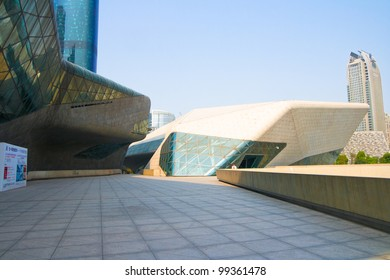 GUANGZHOU, CHINA - MAR.24: Guangzhou Opera House night landscape on Mar. 24, 2012 in Guangzhou, China. Designed by architect Zaha Hadid and has become one of the seven new landmarks in Guangzhou