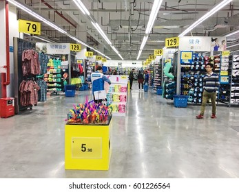 Guangzhou, China - March 10, 2017: Sport articles for sale at the large Decathlon store.Decathlon is a chain of store opened in France in 1976 and one the world's leading sporting goods.