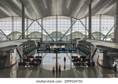 Guangzhou, China - May 24, 2017: Newly opened Terminal 2 at Guangzhou's Baiyun international airport, one of the most trafficked airports in China. Credit: Dino Geromella/Shutterstock